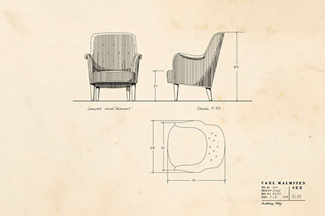 Original sketch of the Konsert armchair designed by Carl Malmsten for the Stockholm Concert Hall in 1923.