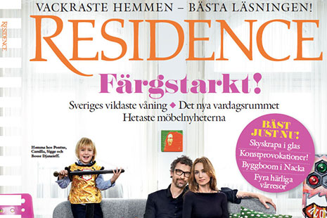 Sofa Samsas on the cover of Residence magazine.